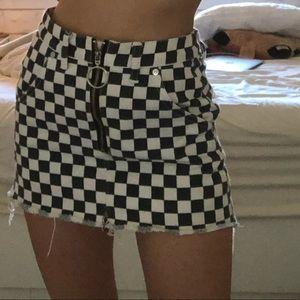 UNIF zip up checkered mini skirt